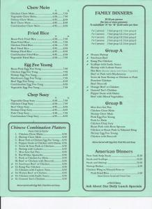 Carry-Out Menu China Garden