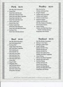 China Garden Eat-In Menu